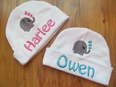 PERSONALIZED MONOGRAM CUSTOM White Infant Baby Beanie Hat Cap Elephant Hearts