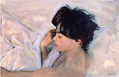 """WILLIAM OXER ORIGINAL CANVAS """"Requiescence"""" pretty woman girl lady bed PAINTING"""