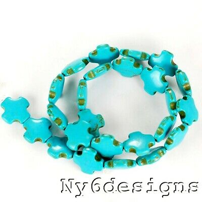 "14x14mm Blue Magnesite Turquoise Cross Beads 15"" (TU750)a"