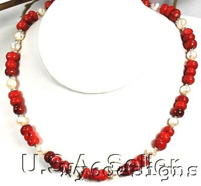 Sea Red Coral & Natural White Pearl Silver Necklace