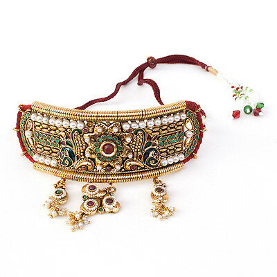 Indian Ethnic Bollywood Bajuband Statement Gold Plated Adjustable Armlet in Red