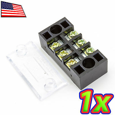 [1x] 600V 15A 3 Position Dual Row Screw Terminal Block Barrier Strip Covered Bus