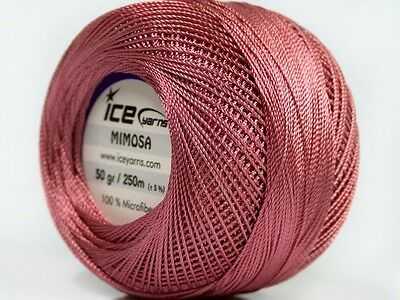 Antique Pink Mimosa Size 10 Microfiber Crochet Thread - Ice 39147- 50 gr 273 yds