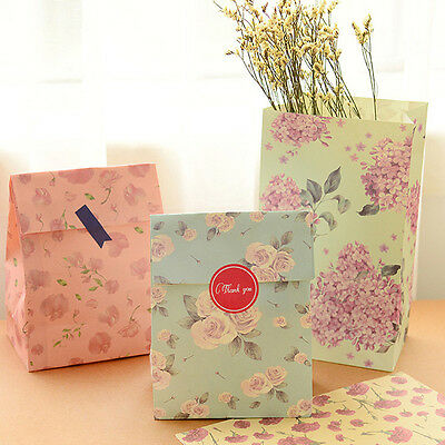 12 Pcs Holiday Wrap Paper Bags Party Wedding Gift Present Paper Bag + Stickers