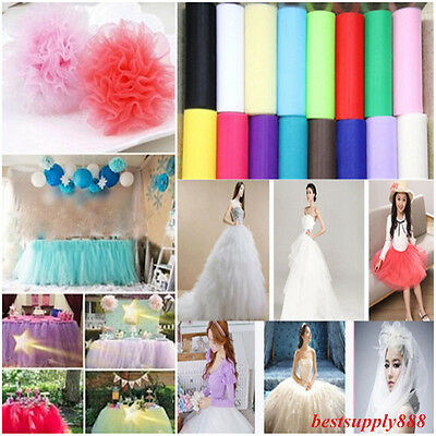 """6"""" 100 yards Tutu Tulle Roll Spool Gift Wrap Craft Bow Wedding Party Decoration"""