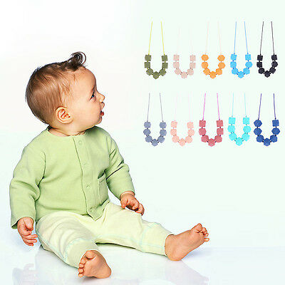 1x Baby Silicone Teething Chain Teether BPA-Free Polygon Bead Charm Necklace Set