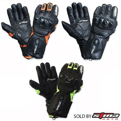 Mens Winter Summer Motorcycle Motorbike Leather Gloves Thermal Extra Protection