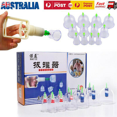 12 Cups Chinese Vacuum Cupping Acupuncture Therapy Set Healthy Massage Suction