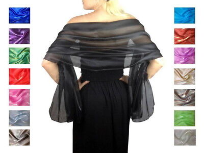 Iridescent Bridal Bridesmaid Wedding Prom Shawl Stole Wrap Pashmina Silky