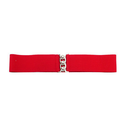 Fashion Cinch Buckle Women 2 Inch Wide Stretch Elastic Waist Belt Red US