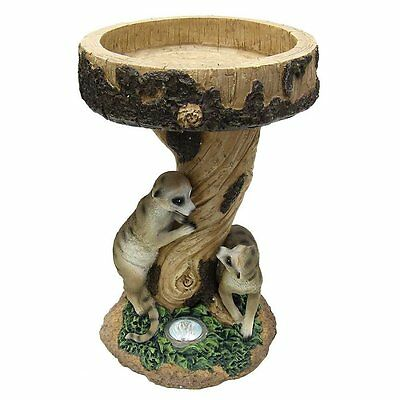 Kingfisher Meerkat Garden Bird Bath with Solar LED Light Ornament
