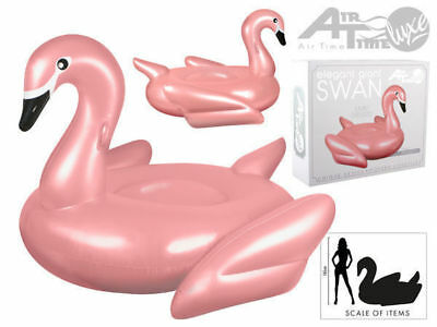 elegant giant swan rose gold pink 182cm by 1145cm pool floatie toy