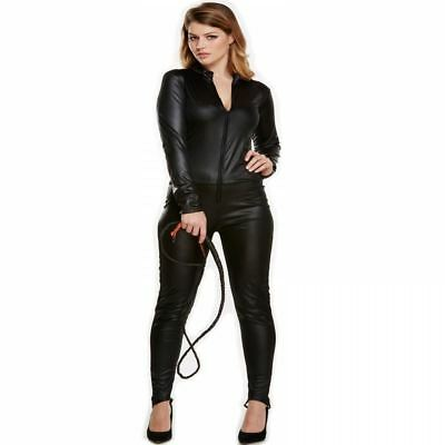 Adult Ladies Black Sexy Catsuit Catwoman Halloween Fancy Dress Costume Outfit