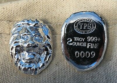 """2oz YPS """"Lion"""" 999+ fine silver bullion bar """"Yeager's Poured Silver"""""""