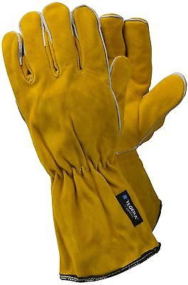 TEGERA 19 Heavy Duty Fully Lined Heat Resistant Leather Welding Work Gloves Long