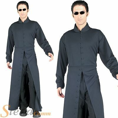 Adult Official Neo Matrix Trench Coat Mens Halloween Fancy Dress Costume Outfit