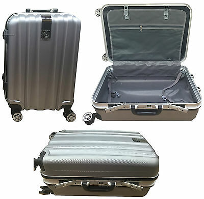 "20"" Cabin Hard Shell 4 Wheel Spinner Suitcase ABS PC Aluminium Luggage Trolley"