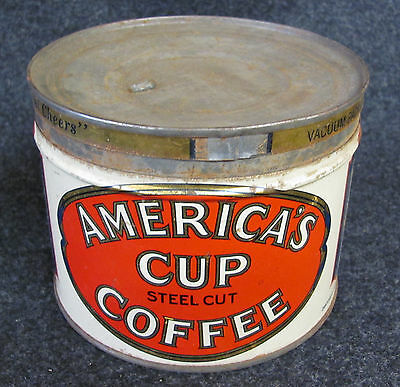 Vintage America's Cup Steel Cut Coffee Advertising Tin (AB181)