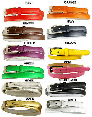 "WOMEN'S 7055 LEATHER SOLID COLOR SKINNY DRESS BELT 3/4"" WIDE *12 Colors!* NEW"