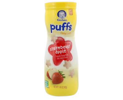 New Gerber Graduates Puffs Cereal Snack Strawberry Apple Baby Feeding Daily Care