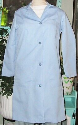 "Best Medical Woman L/S Button Lab Coat 3 Pocket 38"" Length Light Blue Sz S to 2X"