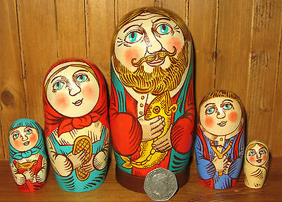 Russian nesting doll family 5 Artist made Market Babushka Dad & FISH signed