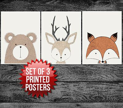 Nursery Decor Woodland Creatures Posters (set of 3) New Baby Gift