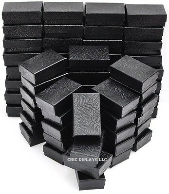 LOT OF 100 BLACK COTTON FILLED BOX JEWELRY GIFT BOXES BRACELET BOX 3 1/4 x 2 1/4