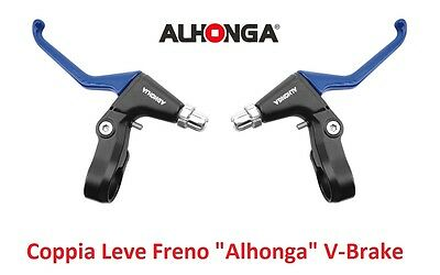 "820AZ Coppia Leve Freno ""Alhonga"" V-Brake Blu per bici 20-24-26-28 City Bike"