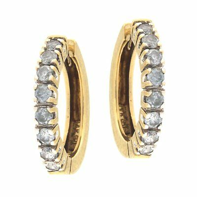 Estate Huggie Earrings with Row of 1CTW of Diamonds 14kt Yellow Gold