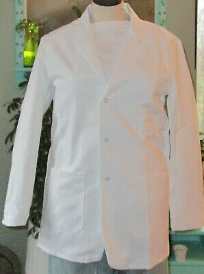 "Best Medical Woman Staff L/S Lab Coat Snap 3 Pocket 30"" Length White Sz XS to 2X"