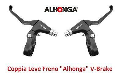 "820NR Coppia Leve Freno ""Alhonga"" V-Brake Nero Opaco per bici 20-24-26 Fat Bike"
