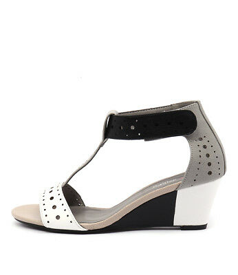 New I Love Billy Blanche White & Black Multi Womens Shoes Casual Sandals Heeled