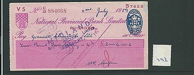 wbc. - CHEQUE - CH793 -  USED -1959 - NATIONAL PROVINCIAL, RUSHDEN