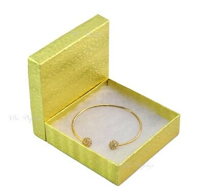 LOT OF 100 GOLD COTTON FILLED BOX JEWELRY GIFT BOXES BRACELET BOX 3.5x3.5 HOT!