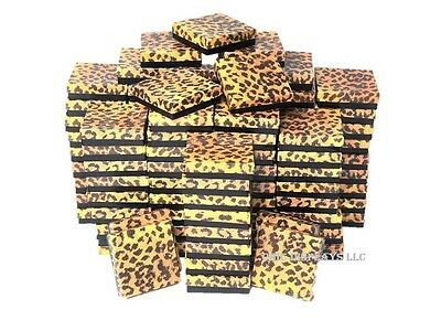 LOT OF 100 LEOPARD COTTON FILLED BOX JEWELRY GIFT BOXES BRACELET BOX 3.5x3.5 HOT