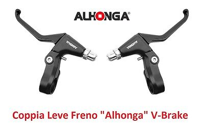 "820NR Coppia Leve Freno ""Alhonga"" V-Brake Nero per bici 20-24-26 BMX Freestyle"