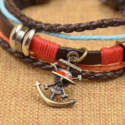 Retro Anime One Piece Pendant Multi Layer Leather Bracelet Bangle Cosplay Gift