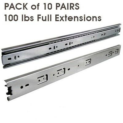 "10 Pairs Full Extension 100-lb Ball Bearing Drawer Slides 10""-24"""
