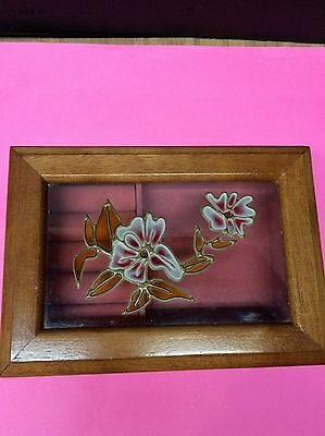SALE! Vintage MELE Stained Glass & Oak Jewelry Box with Handpainted Flowers