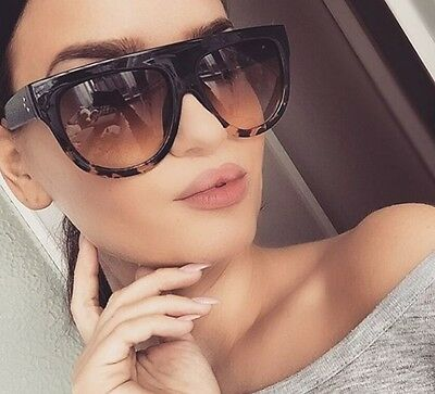 """SHADOW"" Women Sunglasses Teardrop Aviator Flat Top Side Dots Ombre Havana Shadz"