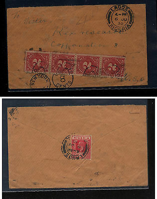 Nigeria  cover to  US  1930  4 US postage due stamps        KL0408