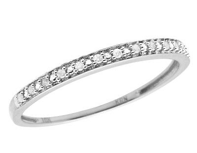 10K White Gold One Row Real Diamond Engagement Wedding Ring Band 0.05ct 2MM