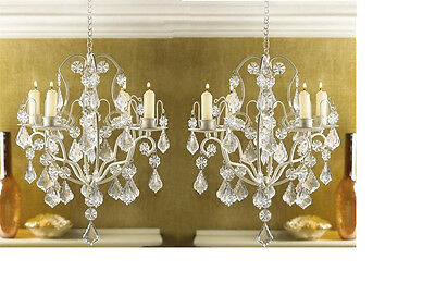 2 Lot Shabby Hanging Chic Crystal Chandelier Candle Holders Wedding  Centerpiece