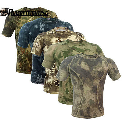 Summer Camouflage Outdoors Quick Dry T-Shirt Hunting Clothing Men Uniform