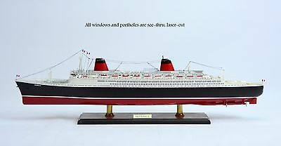 """SS France Ocean Liner 40"""" French Line with lights - Handmade Wooden Ship Model"""
