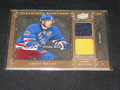 Chris Drury Rangers Legend Certified Authentic Game Used Hockey Jersey Card /199