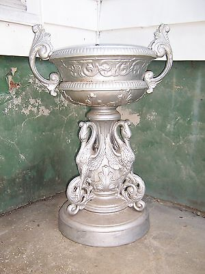 Large Antique Cast Iron Egret Garden Urn Planter Manner of J.W. Fiske