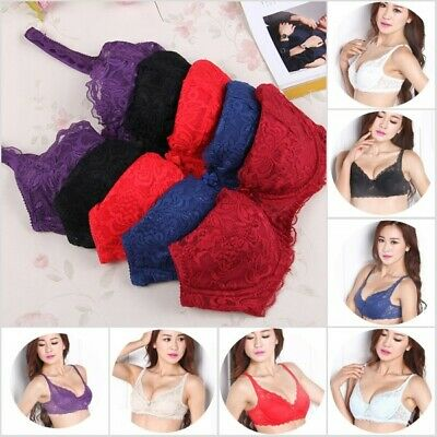 Women Sheer Lace Bra Push Up Bras Underwear Underwire Deep V Brassiere Lingerie