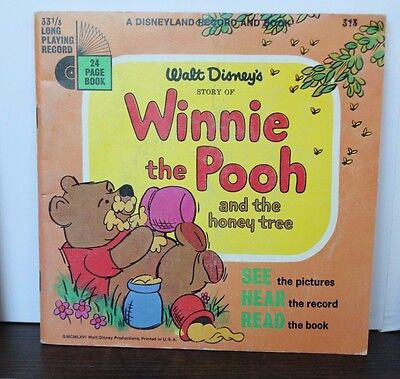 Disneyland Presents Winnie the Pooh 24-Page Read Along Book and Record 1965 Rare